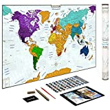 World Map w/Scratch Off Ink by VespucciWorld (24x36 Glossy Laminated) Beautiful Wall Poster to Show Off Your Travel Destinations - Unique Accessories Set & 54 Must-See Place Ebook (Blue)