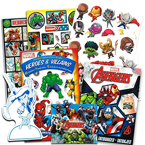 Marvel Avengers Stickers and Tattoos Party Favor Pack (Over 200 Stickers and 50 Temporary -