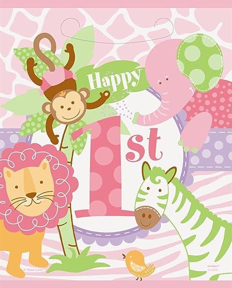 Rosa Safari primer cumpleaños para bolsas de fiesta, pack de ...