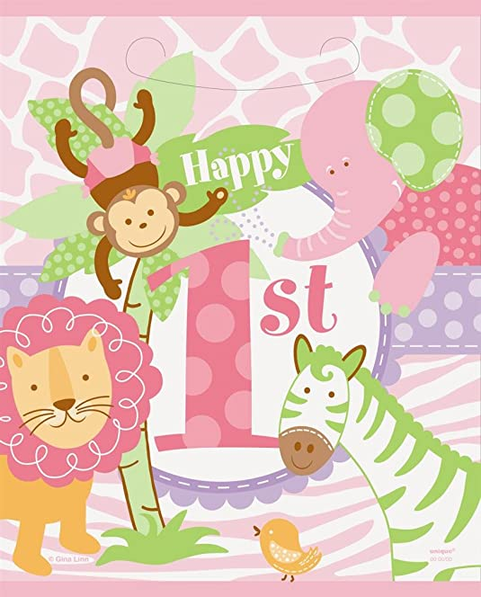 Pink Safari 1st Birthday Party Bags Pack Of 8