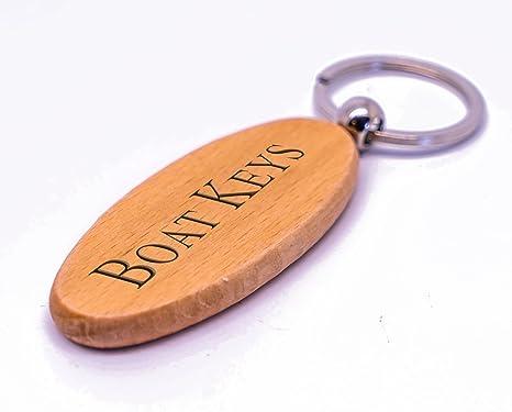 Llavero de madera Barco, personalizado, láser grabado con ...