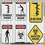 Haixia Zombie Decor Warning Signs For Evil Creatures Paranormal Construction Do Not Open Artwork Decorative Apartment Decor Shower Curtains