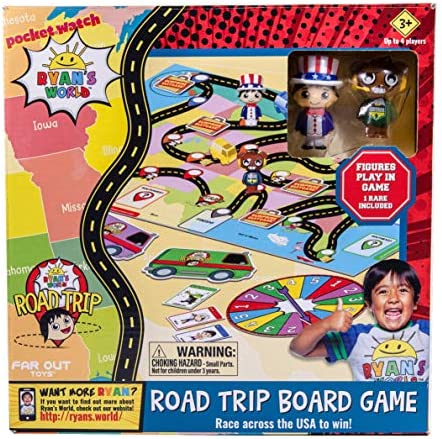 Far Out Toys Ryan's World Road Trip Board Game | Includes Collectible Figurines, Micro Figure Cards, and Surprise Suitcase Tiles | A Journey Through All 50 States! for Ages 3 and Up