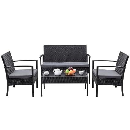 Amazon.com: 4 pcs muebles sofá negro juego de mesa al aire ...