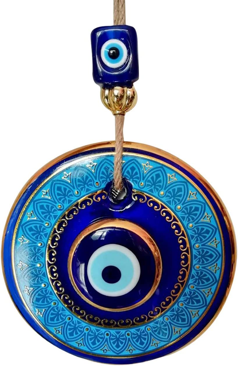 Hamam Tamam 14 cm Diameter, Large Size Golden Gilted Glass Blue Evil Eye Bead, Wall Hanging Ornament ,Turkish Nazar Bead, Home Protection Good Luck Charm, Wall and Door Decor Amulet
