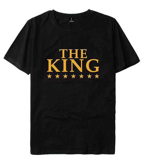 SIMYJOY King and Queen Rey y Reina Camiseta Lovers Pareja Tshirt Recién Casado Enamorado Aniversario Cumpleaños