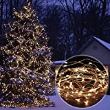 AMIR Solar Powered String Lights, 33ft Copper Wire