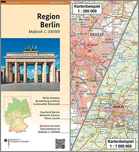 Region Berlin: Karte 1:200 000 mit Übersichtskarte 1:1 000 000 (Regionalkarten 1:200000) Landkarte – Folded Map, 14. Mai 2014 3864820480 Deutschland Berlin / Stadtplan Umgebungskarte