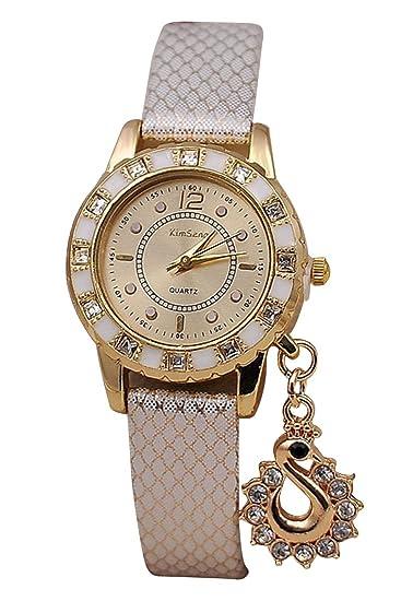 kimseng Chicas Senoras Mujeres Analogicos Pendiente Cristal Reloj Imitacion de Cuero Correa Reloj de Pulsera-Blanco: Amazon.es: Relojes