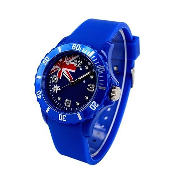 Relojes para Hombre, Moda Deportes Relojes de Pulsera Fútbol Copa del Mundo Bandera Patrón Cuarzo Reloj Silicona Suave Cómodo Relojes: Amazon.es: Relojes