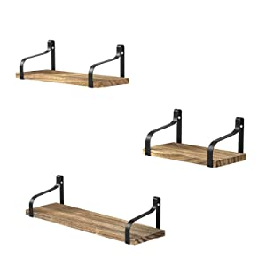 Love-KANKEI Floating Shelves Wall Mounted Set of 3, Rustic Wood Wall Storage Shelves for Bedroom, Living Room, Bathroom, Kitchen, Office and More Carbonized Black