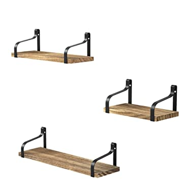 Love-KANKEI Floating Shelves Wall Mounted Set of 3, Rustic Wood Wall Storage Shelves for Bedroom, Living Room, Bathroom, Kitchen, Office and More
