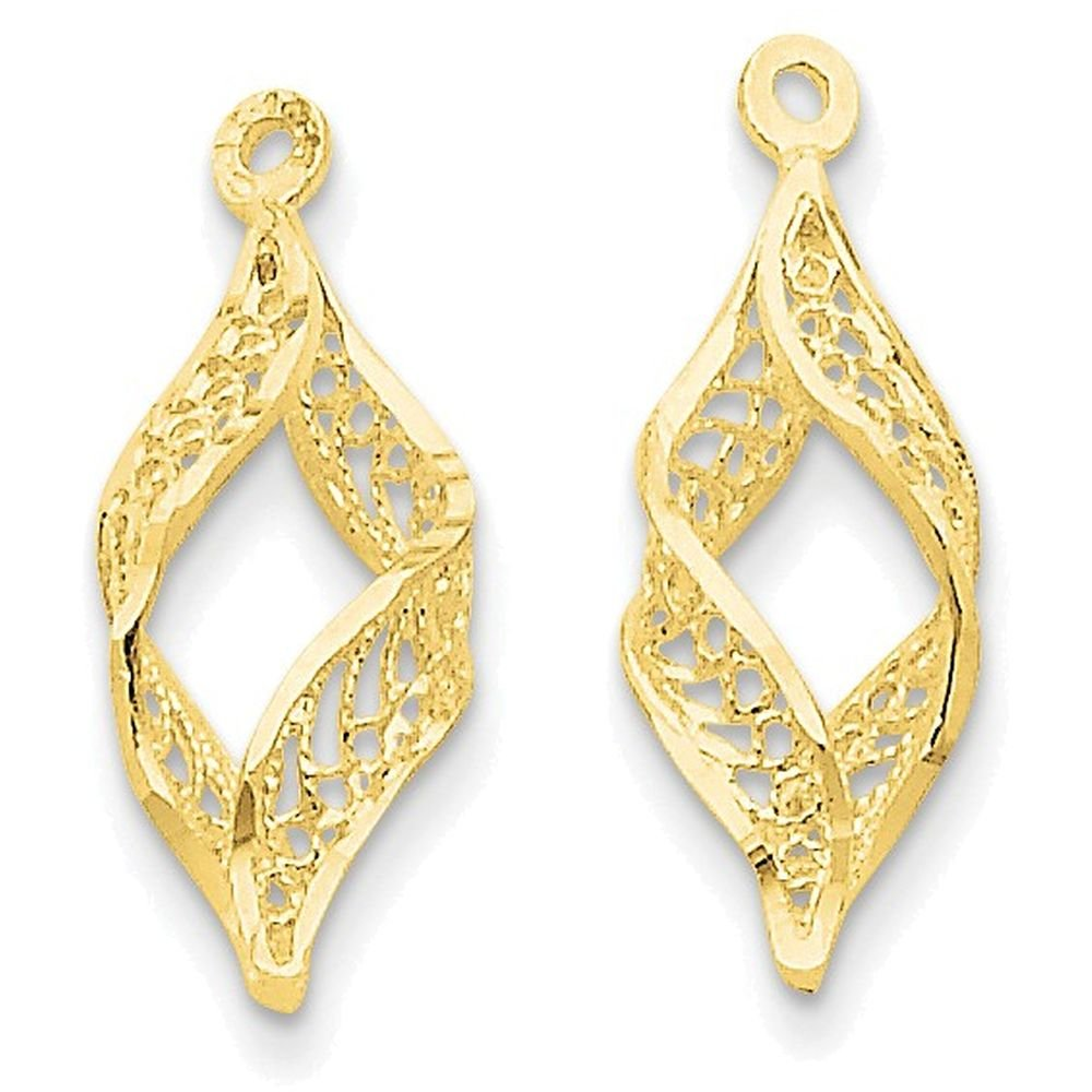 14k Yellow Gold Polished Filigree Swirl Earring Jackets