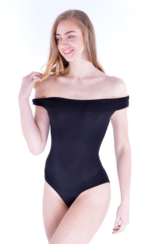 Womens Ladies Summer Popper Off The Shoulder Bardot Mesh Fishnet Leotard Top