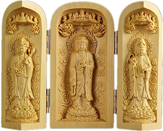 Handcrafts Buddhism Statue Boxwood The Lucky Stars 3 God Buddha Statue Box
