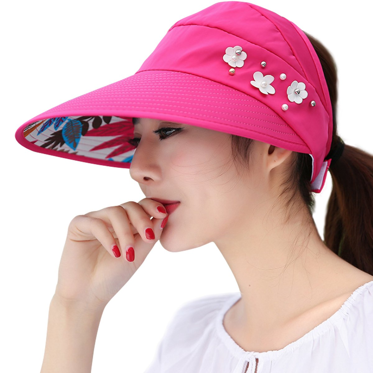 6c20ca01d8360 Lanzom Women Wide Brim UV Protection Summer Sun Hat Beach Visor Cap UPF 50  headband0012 Hats ...
