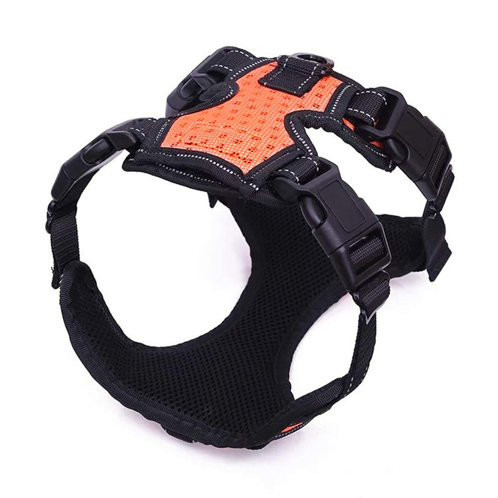 orange Small orange Small Dog Chest Strap with Traction Rope Pet Supplies Explosion-Proof Punch Large Dog Pet Adjustable Comfort Breathable,orange,S