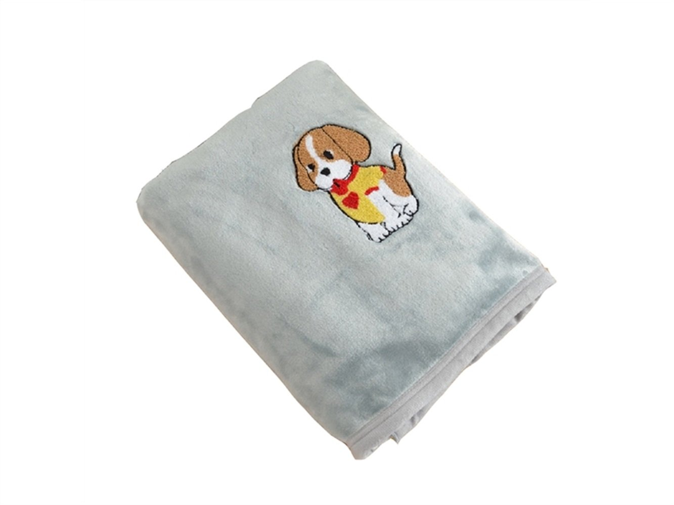 Gemütlich Kinder Cartoon Applique (Hund) Decke Cute Animal Blanket Kinder Schlafdecke (Matcha Green) für Kleinkinder HFjingjing