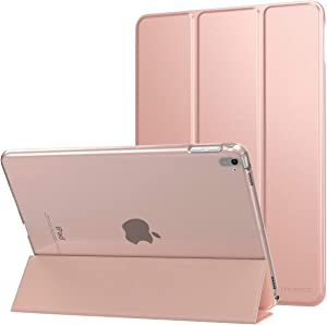 MoKo Case for iPad Pro 9.7 - Slim Lightweight Smart Shell Stand Cover with Translucent Frosted Back Protector for Apple iPad Pro 9.7 inch 2016 Release Tablet, Rose Gold (with Auto Wake/Sleep)