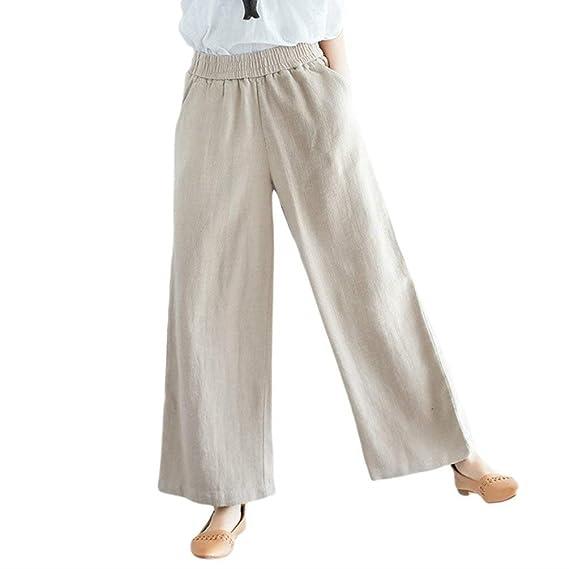9ec863b91393 Pantalons Femme Elégante Printemps Automne Ceinture Élastique Uni Manche  Wide Leg Pants Bouffant Loisir Fille Vêtements