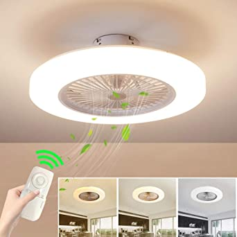 Ventilador de techo con lámpara, Ventilador de techo con luces LED control remoto Silencioso Lámpara de techo LED moderna 3 colores regulables, 72W Lámpara de techo para sala de estar del dormitorio: