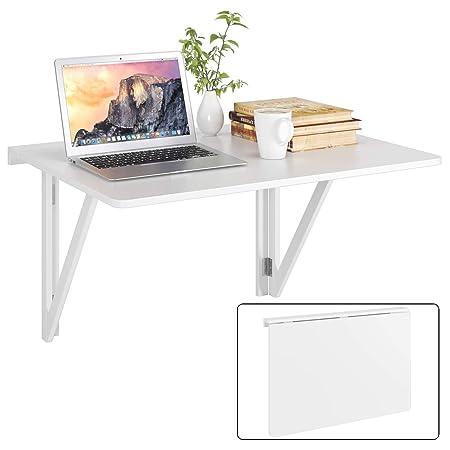 Homfa Tavolo da Muro Bianco Tavolino Pieghevole Multifunzione Salvaspazio  Tavola da caffè scrivania Piccola da Leggere Supporto Computer Ingresso ...