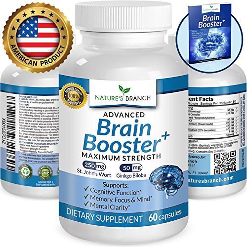 Complex 60 Memory Tablets (★ ADVANCED Brain Support Supplement Focus Clarity & Memory Booster PLUS FREE EBOOK Energy Enhancer Ginkgo Biloba St Johns Wort Vitamins Nootropic Power Boost 60 Brain Health Function Pills)
