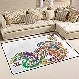 LORVIES Tribal Sea Dragon Area Rug Carpet Non-Slip Floor Mat Doormats Living Room Bedroom 60 x 39 inches Review