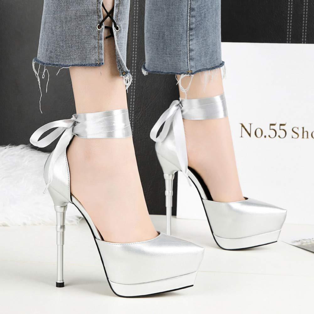 GGXYJF Femmes été Plateforme 12Cm en Cuir Extrême Fin Talons Hauts élégant De Luxe Talons Aiguilles Sandales Escarpins Femme   Chaussure