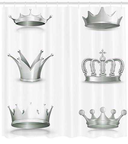 Plata Cortina De Ducha Por Ambesonne Diferentes Tipos De Coronas