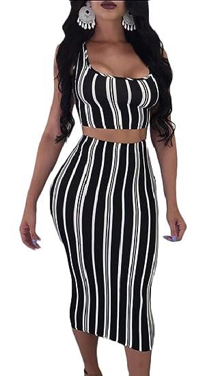 303ddf7001c9e Qiangjinjiu Women Stripes Tank Top + Bodycon Midi Skirt Set Two Piece at  Amazon Women's Clothing store: