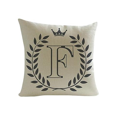 SMILEQ cuadrado fundas de almohada de letras patrón algodón ...