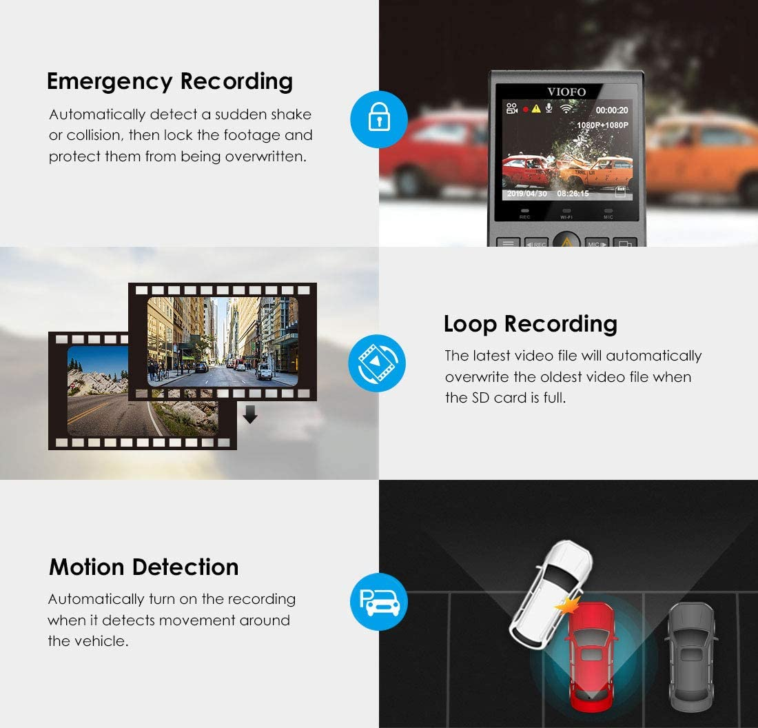 Viofo A129 Duo Ir Dual Dash Cam Taxi Front And Indoor Camera Infrared Night Vision Full Hd 1080p Wi Fi Car Dashcam Gps Included Buffered Parking Mode Motion Detection G Sensor Auto