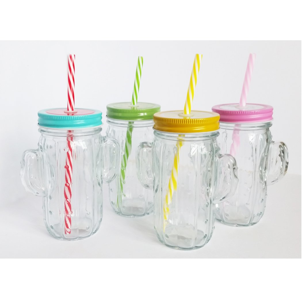 Project JH - Party of 4 Cactus Mason Drinking Glass Jars with Handle, Fruit Patterned Tin Lids and Colorful straws