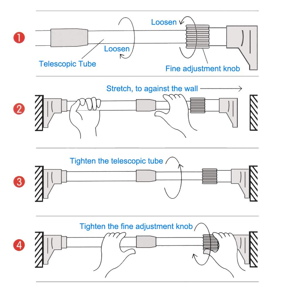 TTMOW Tension Curtain Rod 24''-36'', Adjustable 0.98'' Diameter Stainless Steel,No Drilling
