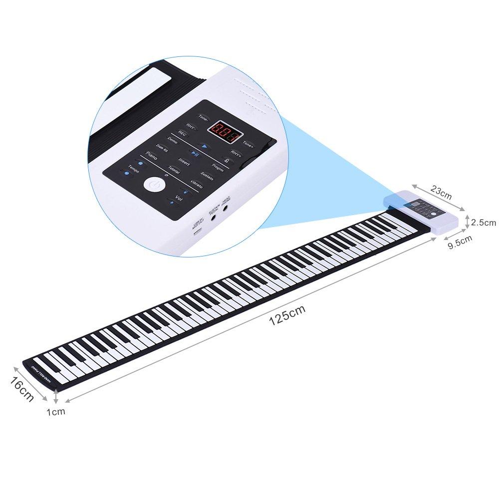 ammoon Silicona Portátil 88 Teclas Rollo Up de Mano Piano Electrónico Teclado USB Built-in Li-ion y Altavoz con un Pedal: Amazon.es: Instrumentos musicales