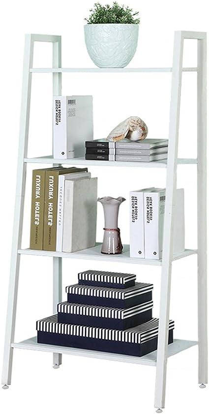 Estantería de 4 baldas de Holifine®, estantería para plantas o libros, con forma de escalera, escalonada, estantería de almacenaje de pared