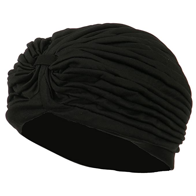 1920s Accessories | Great Gatsby Accessories Guide Vintage Pleated Turban Hat - Black $12.99 AT vintagedancer.com