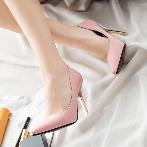 Tacones de mujer Covermason Zapatos de tacón fino de moda Zapatos de tacón bajo de punta estrecha(39 EU, Rosado): Amazon.es: Ropa y accesorios