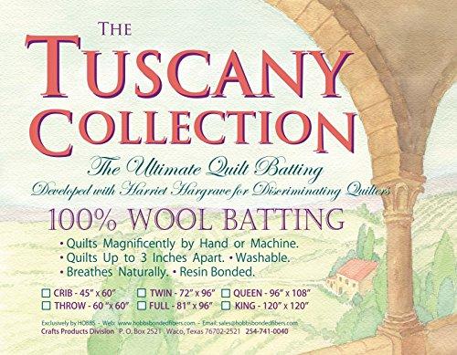 Hobbs Batting Tuscany 100% Washable Wool x 60in Throw, 60