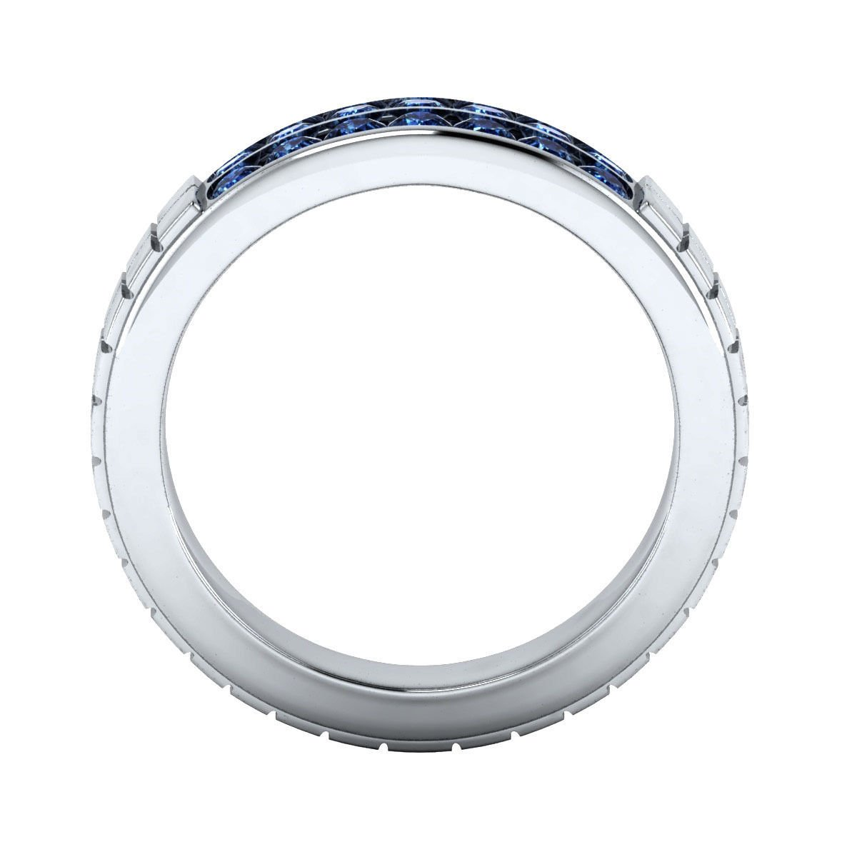 tusakha 0.84 ct Round Cut Blue Sapphire 14K White Gold Plated Wedding Band Ring For Mens