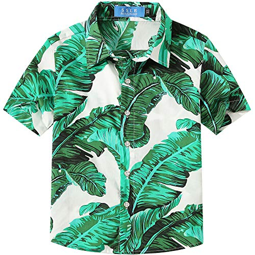 - SSLR Big Boy's Floral Cotton Casual Button Down Short Sleeve Hawaiian Shirt (X-Small(6), White (118-66))