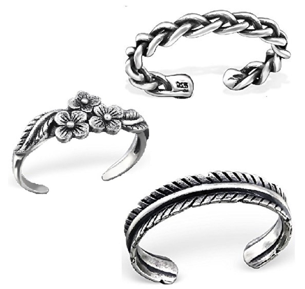 925 Sterling Silver set of 3 Oxidized Flowers, Leaf, Braided Adjustable Toe Ring or Above Knuckle Ring Mid Finger