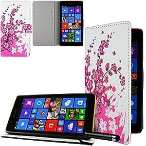 Ownstyle4you cobertura side case con funcion de stand para Nokia Lumia 535 incl. Protector de Pantalla CHERRY