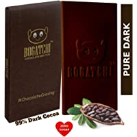 BOGATCHI 99% Dark Chocolate Real Intense Cocoa with Zero Sugar and Sugar Free Dark Handcrafted Chocolate, 80g