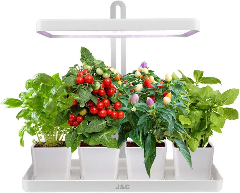 J&C Indoor Herb Garden LED Height Adjustable LED Plant Grow Light, Built-in Smart Timer, Herb Garden Seed Starter Kit, Home Garden, Vegan Indoor Gardening, DIY Gifts, White(Pots Not Included)