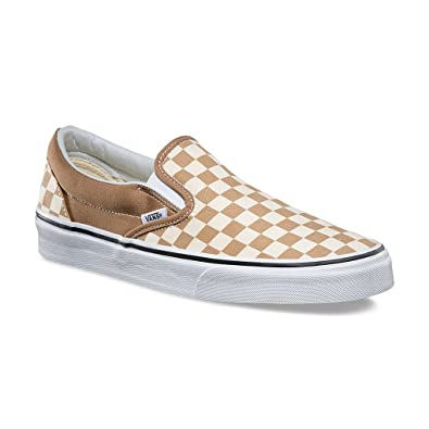704084d7b6 Vans Classic Slip On Checkerboard Beige Brown White Unisex Shoes Women Men (