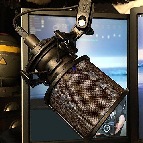 Sywon Metal Mesh and Foam Layer Mic Cover Handheld Microphone Pop Filter Windscreen Wind Screen Studio Shield Mount, Black - Image 3