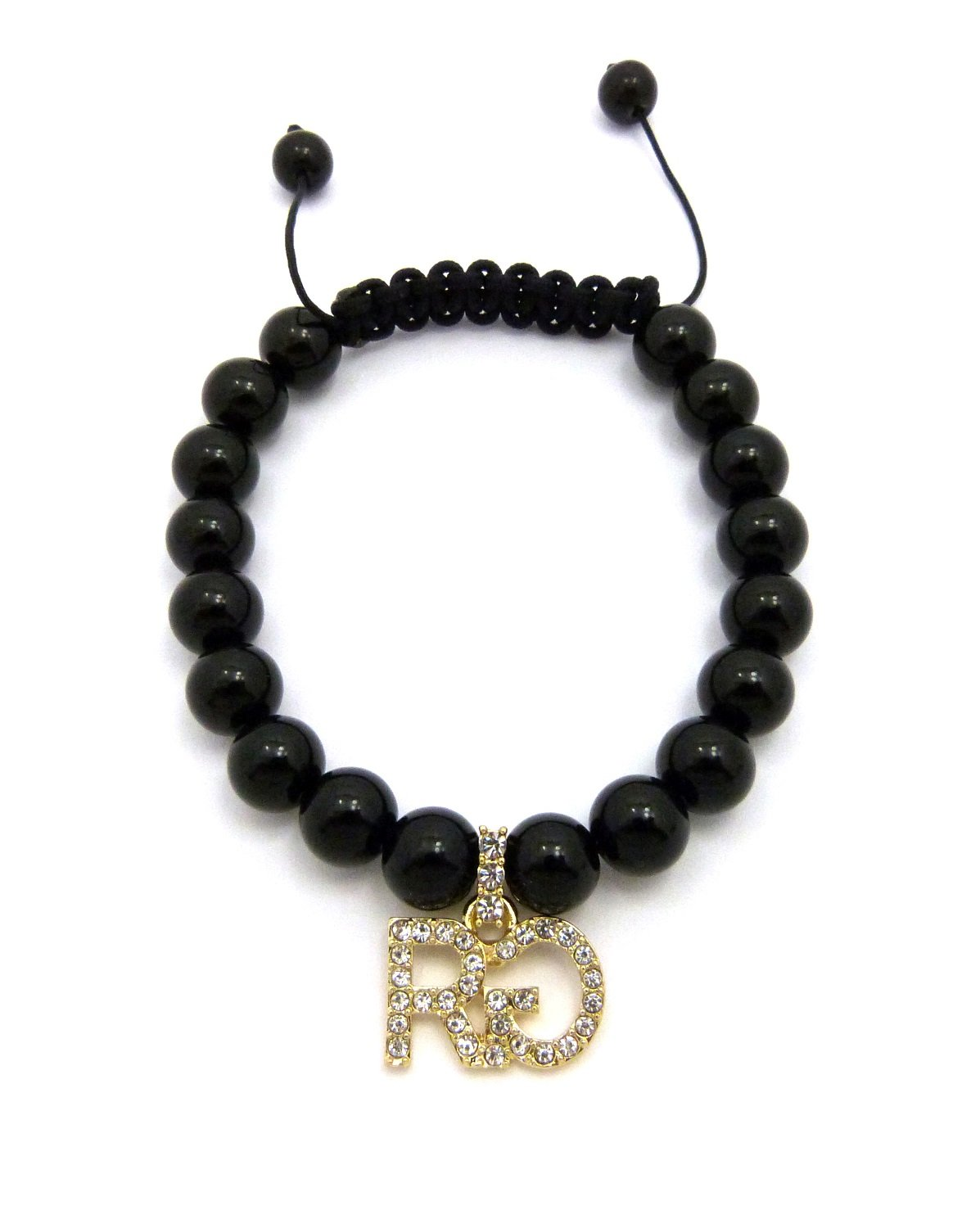 ICED OUT 'RG' RICH GANG PIECE & BLACK GLASS BEAD CHAIN HIP HOP BRACELET - RB22G