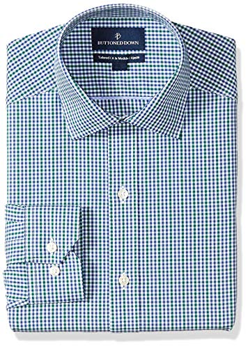 BUTTONED DOWN Men's Tailored Fit Spread-Collar Pattern Non-Iron Dress Shirt, Green/Blue Gingham, 16